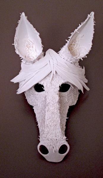 Masquerade masks paper mache horse Unicorn mask  Pony Paper Mask
